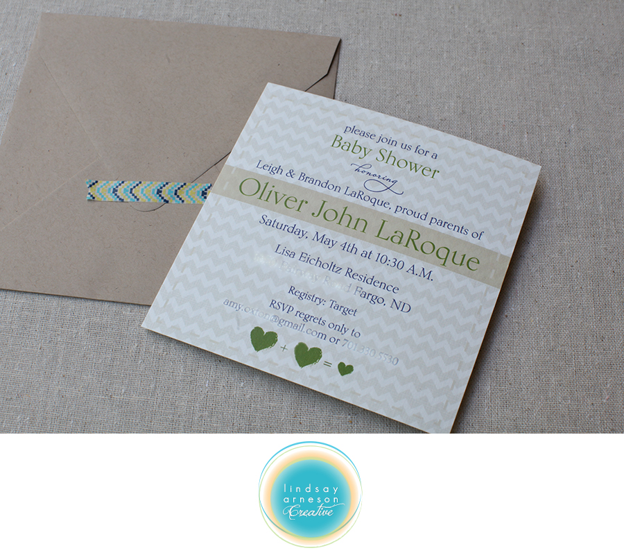 And baby makes 3 baby shower invitations lindsay arneson creative we printed these on a eco friendly bamboo card stock that has a beautiful texture and nice weight to it i love the kraft envelopes that bring out the brown filmwisefo