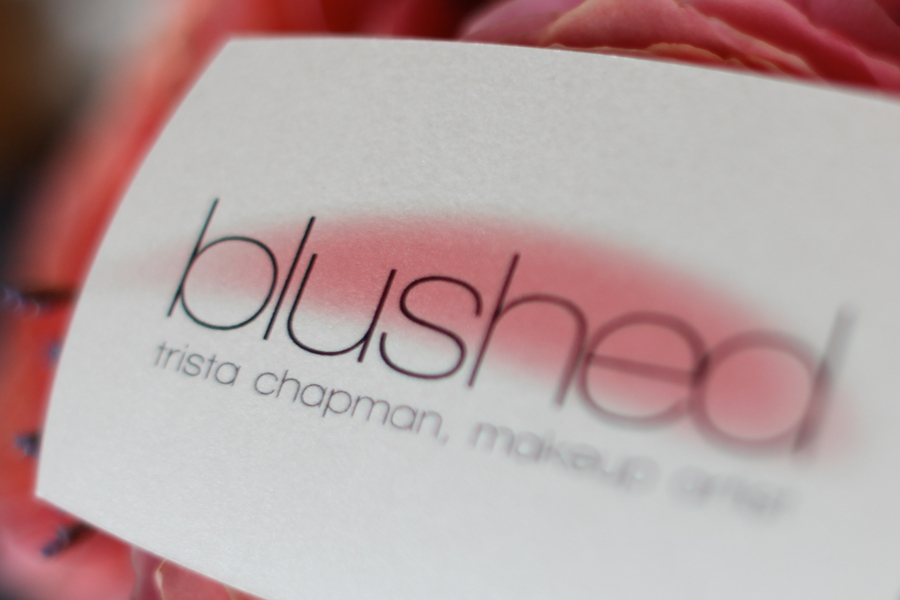 Blushed fargo air brush make up artist logo business card here is a little info on trista and her biz choosing a wedding makeup artist is a big decision it will determine how you look and feel as every moment is reheart Gallery