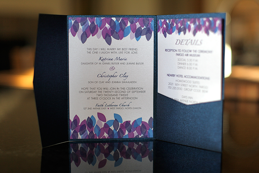 "Purple And Blue Wedding Invitations: The ""falling Leaves Collection"""